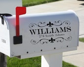 Fleur De Lis Vinyl Mailbox Decal with personalized name and address