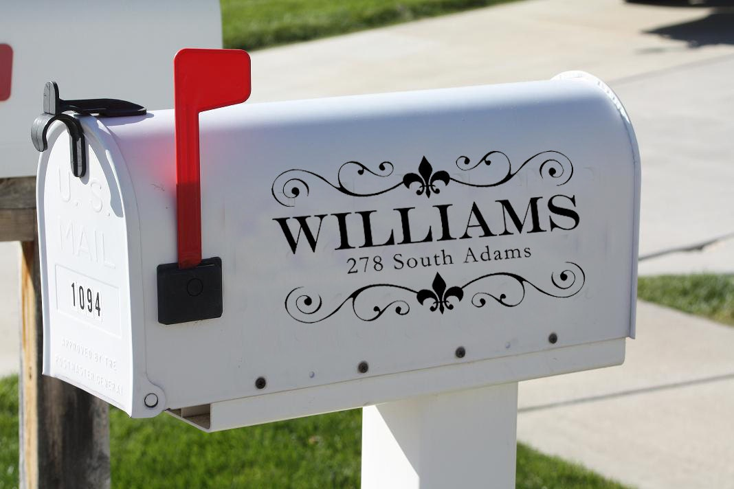 Fleur De Lis Vinyl Mailbox Decal With Personalized Name And