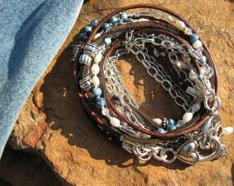 "Boho....Endless leather...""Denim and Pearls.""..Multi-strand wrap bracelet"