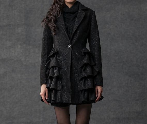 women winter coat black wool jacket (038)