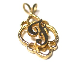 Vintage Initial Pendant - Letter F 14K Yellow Gold Pendant Charm - Total Weight 1.2 Grams # 98