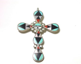 Zuni Cross Pendant - Signed ZME Zuni NM - Zeno And Maryann Edaaki - Turquoise - Coral - Onyx - Mother Pearl - Native American # 462