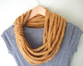 Honey Gold Scarf .. Mustard Yellow Scarf .. Infinity Scarf .. Eternity Scarf .. Scarf Necklace .. Crochet Chain Scarf .. Winter Trend - DottieQ