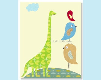 "The Funny Dinosaur,  Personalized Nursery Art, 8x10"" Nursery Print, Baby Boy Room Decor, Nursery art, Little Birds, Lemon Yellow, Funny"