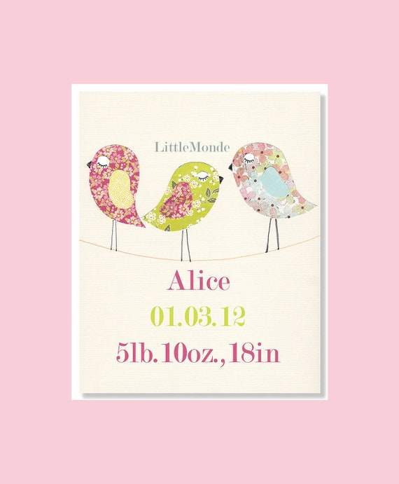 NURSERY ART PRINT, Nursery Decor, Personalized Nursery Print, Baby Girl Room Decor, Baby Shower Gift, Pink and Green Nursery