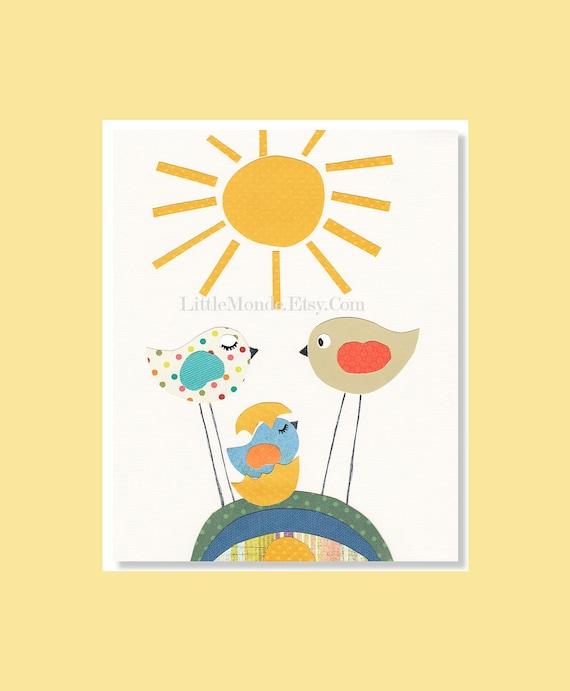 NURSERY ART PRINTS, Baby Boy Nursery Prints, Birds Nursery Prints, Yellow Nursery Art, Baby Boy Decor, Nursery Wall Decor