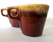 Hull Brown Drip Coffee Mugs Made in the USA 50s - 70s