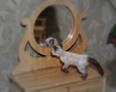 Cat Dollhouse miniature pet furred ooak siamese