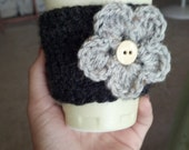 Charcoal and Gray Flower Crochet Coffee Cozy