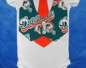NFL Football Team Vest & Tie Baby Onesie or Toddler Shirt with Miami Dolphins...or CHOOSE your TEAM