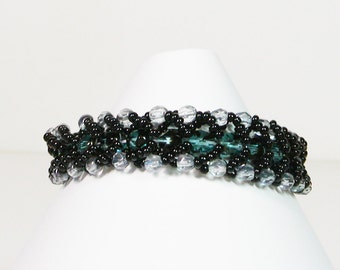 Bead Woven Bracelet, Black and Turquoise
