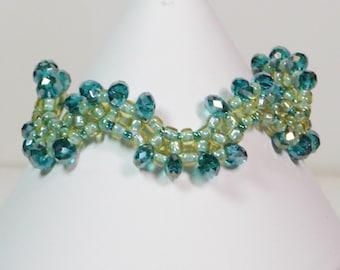 Crystal Bead Weaving Bracelet, Wave Bracelet, Turquoise Bracelet Crystal Woven Bracelet