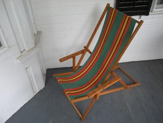 Vintage Wood Deck Beach Chair Canvas Sling Back Chair