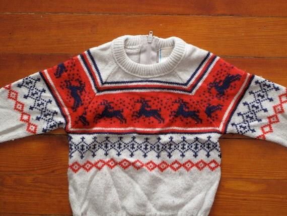 kids vintage reindeer sweater.