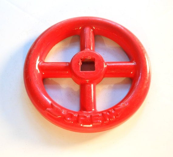 big red water valve / knob