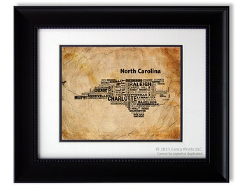 Family Housewarming gift for him NORTH CAROLINA Modern print Unique Typography Poster Birthday gift for him husband Football fan
