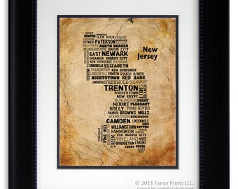 Original Fathers Day Gift for him, original housewarming gift, New Jersey State Cities & Towns Unique Typography Print, rustic style room