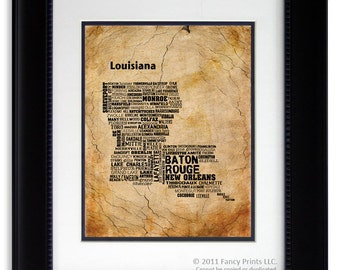 Fathers Day Gift Ideas Louisiana State Map Print Cities & Towns - Unique housewarming gift for him, wedding gift for couple