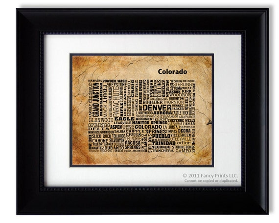 Unique Housewarming Gift Collage Colorado State Map Cities