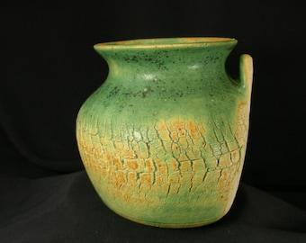 ChingWenArts Studio Pottery Art Stoneware Wall Vase Pot, Green, Signed, W7181