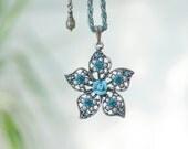 Rhinestones and Porcelain Floral Flower Woodland Necklace