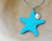 Nautical Necklace - Resin Starfish with Sweetwater Pearl