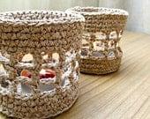 Beige Shabby Chic Crochet linen candle holder / Rustic Home Decor Crochet jar for candles / Crochet lantern Cottage Farmhouse Home Decor
