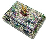 Lacquer ware inlaid new mother of pearl handcrafted jewelry case,jewel box trinket box Phoenix patterns
