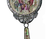 Mother of Pearl Butterfly Design  Makeup Cosmetic Handbag Purse Compact  hand porcket Mirror