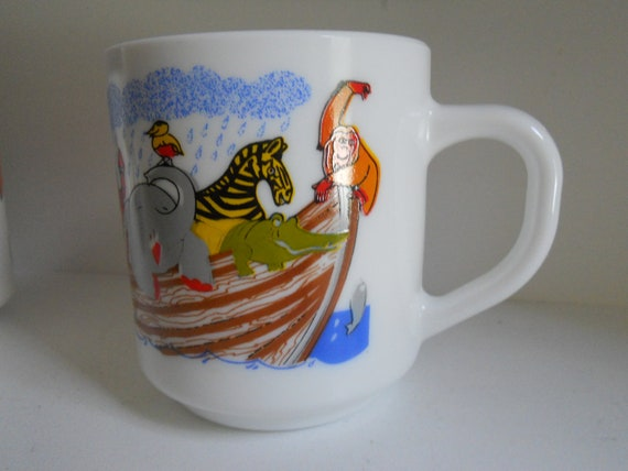 Reserved -1 Milk Glass Arcopal France Mugs - Noah of Arc