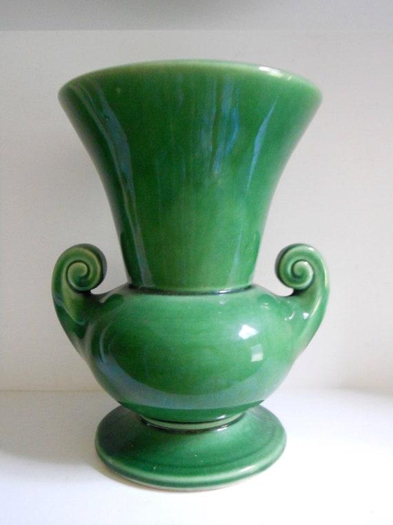 1940's McCoy Vase, Dark Green Glaze - 8 Inches Tall