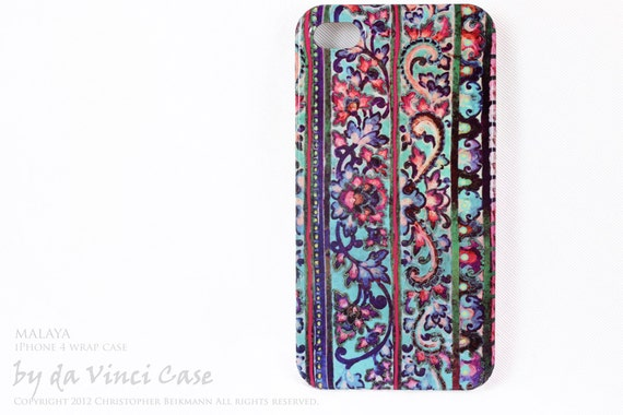 artistic iPhone 4 case - iPhone 4s case - art WRAP iPhone case - Malaya - vibrant tropical floral artwork