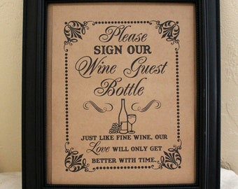 Sign Our Wine Guest Bottle - Guest Book Alternative -Wedding Sign - Single Sheet (Style: WINE)