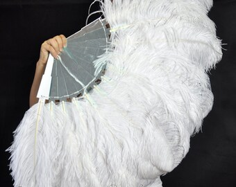 """45"""" Stunning White Ostrich Feather Fan with Mirror Staves Burlesque Dancing"""