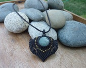 Natural Chrysoprase  macrame Necklace Hand Made / Healing stone.