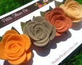 Felt Rose Hair Clip Set - Wool Blend Felt Flowers with Leaves
