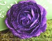 Glittered Deep Purple Ranunculus Alligator Hair Clip- Handmade Floral Headpiece