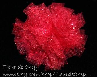 Glittered RedTulle Puff on Alligator Clip - Handmade Floral Headpiece
