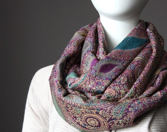 Pashmina   paisley Infinity Scarf in Purple , Turquoise , Jacquard