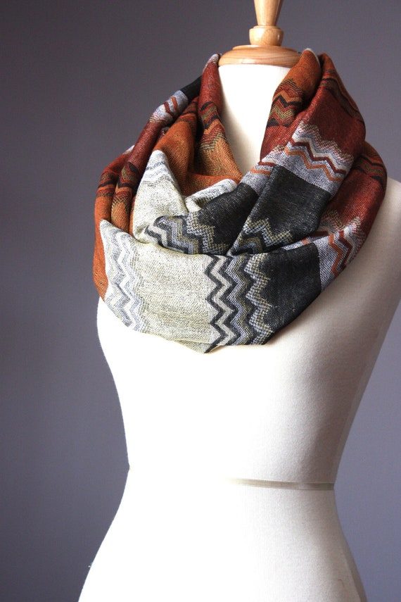 RESERVED Infinity scarf 40 % silk  zigzag multicolor Missoni style in rust brown black golden