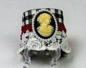 Cuff Bracelet, Steampunk Jewelry, Lace Jewelry, Steampunk Cuff, Cameo Bracelet, Steampunk Jewelry
