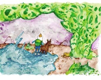 Farmworld FInn and Jake No. 3, 8.5x11 inch inkjet print Adventure Time Fan Art