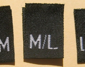 Mixed Lot of 500 pcs Black Woven Women Clothing Labels, Size Tags - S/M, M/L, L/XL - 166 pcs each size