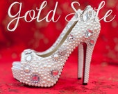 Wedding Shoes with Pearls and Rhinestones