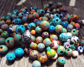 Random Hippie Multicolored Polymer Clay Beads for Jewelry (25 pieces)