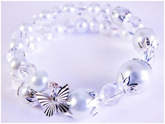 Pearl butterfly bracelet, memory wire bracelet