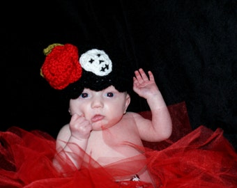 Red Rose and Skull Baby Hat