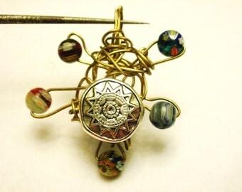 Unique, Rustic Brass Wire & Millefiori Bead Reversible Pendant