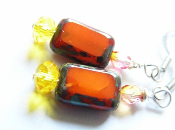 Rich Tangerine Orange Czech Glass Earrings with Goldenrod and Orange & Fuchsia Czech Glass Accents