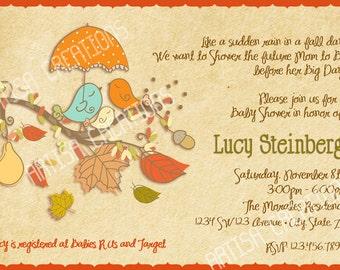 Fall Birds Baby Shower Invitation - Fall Baby Shower Invite - Autumn Baby Shower Invitations - Fall Vintage Rustic Baby Shower Invite